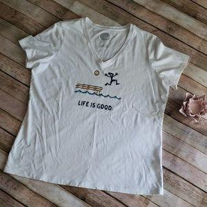 Life Is Good vneck shirt NWOT